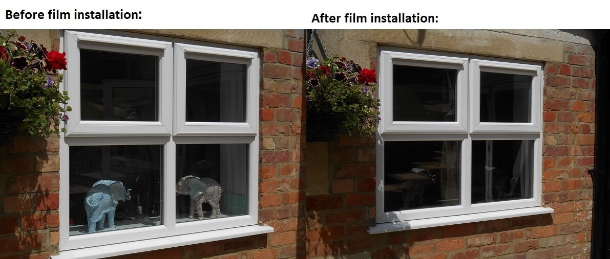 privacy one-way window film before and after