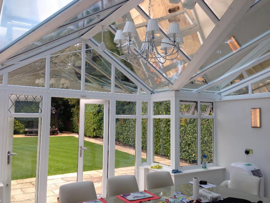 Interior view of conservatory solar window film: 3M Prestige 70 External.
