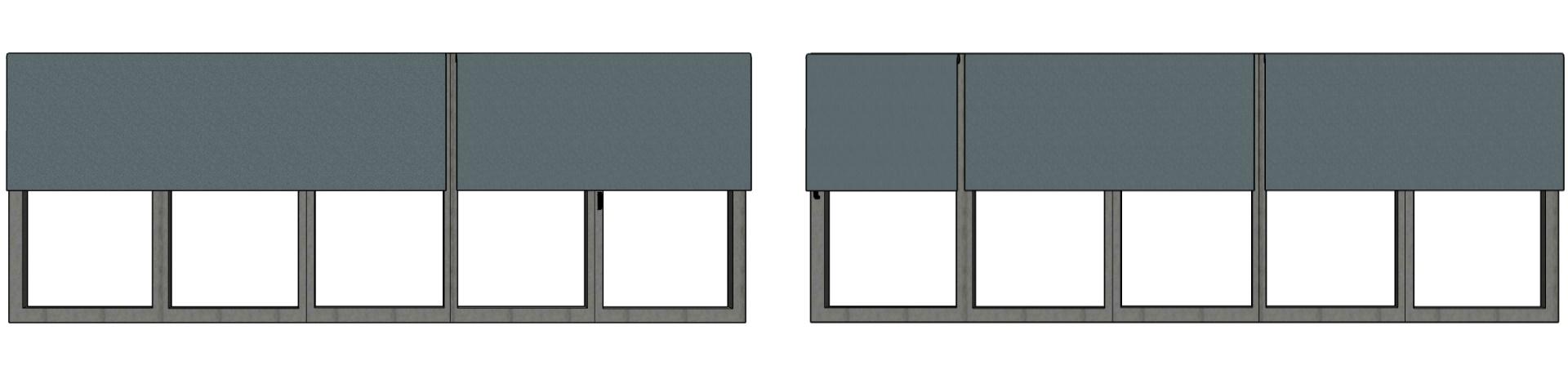 5-panel bi-fold door blinds configuration