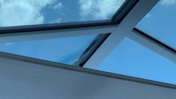 Solar shading with cellular electric roof lantern blinds