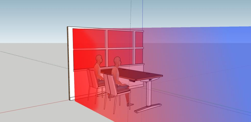 Example diagram of glazing with an absorbing window film